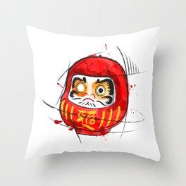 Daruma Digital Drawing, Japanese Art, Watercolor, Daruma Print Throw Pillow