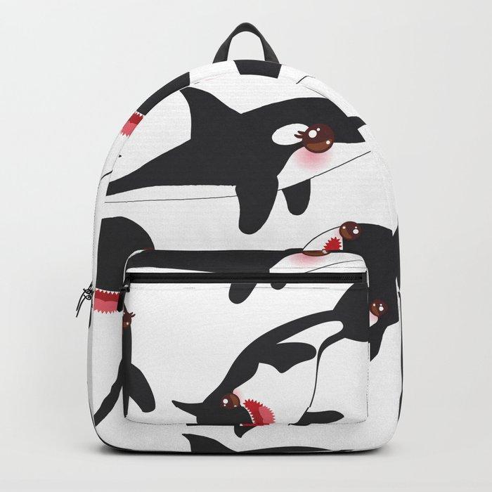 Cartoon grampus orca, killer whale, sea wolf Kawaii Backpack by ekaterinap