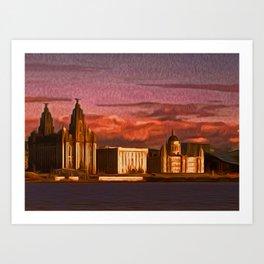 Liverpool Waterfront at Sunset (Digital Art) Art Print
