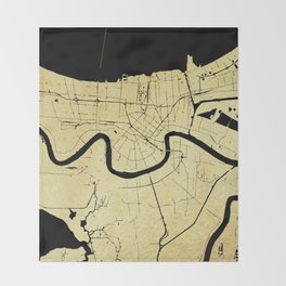 New Orleans Black and Gold Map Throw Blanket