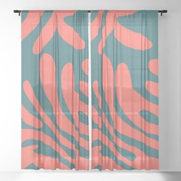 Living Coral in the Deep Sea - Pantone Color Trend 2019 Sheer Curtain