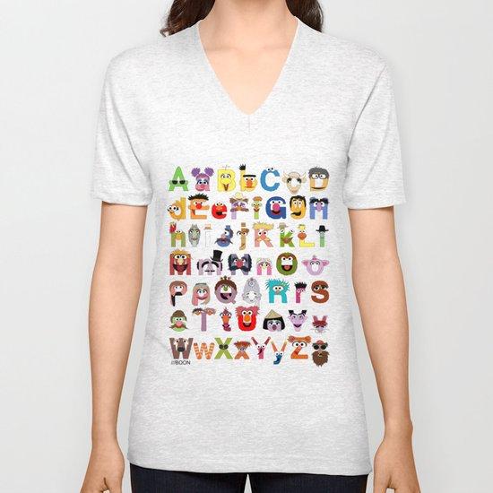 Sesame Street Alphabet Unisex V-Neck