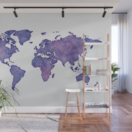 Purple World Map 02 Wall Mural