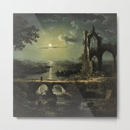 Classical Masterpiece 'A Ruined Gothic Church beside a River by Moonlight' by Sebastian Pether Metal Print