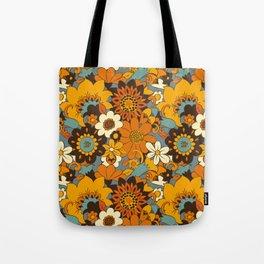 70s Retro Flower Power 60s floral Pattern Orange yellow Blue Tote Bag