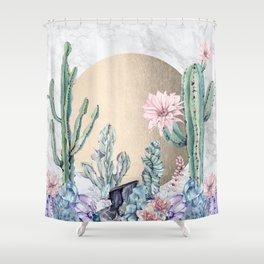 Desert Sun + Gemstones Gold Marble Shower Curtain