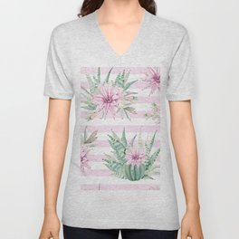 Rose Stripe Succulents - Pink and Mint Green Cactus Pattern Unisex V-Neck