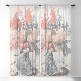 Flowers in Glass Vase Sheer Curtain