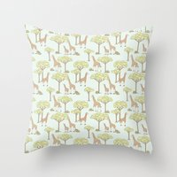 giraffes Throw Pillows featuring Giraffes by Emma Margaret Illustration