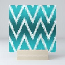 Ombre Teal Blue Turquoise Ikat Chevron Zigzag Pattern Mini Art Print