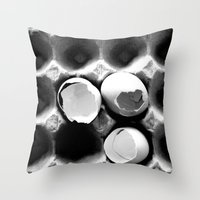 eggs Throw Pillows featuring  eggs by serena wilson stubson