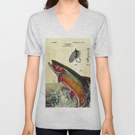 Vintage Trout Fly Fishing Lure Patent Game Fish Identification Chart Unisex V-Neck
