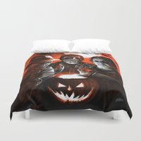 freddy krueger Duvet Covers featuring Freddy Krueger Jason Voorhees Michael Myers Super Villians Holiday by Scott Jackson Monsterman Graphic