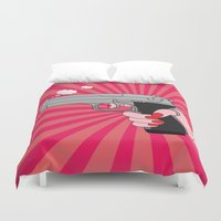 gun Duvet Covers featuring comics gun  by mark ashkenazi