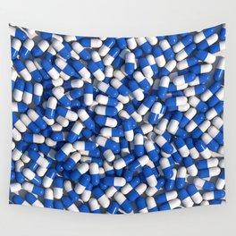 White Blue Akira Pills Wall Tapestry