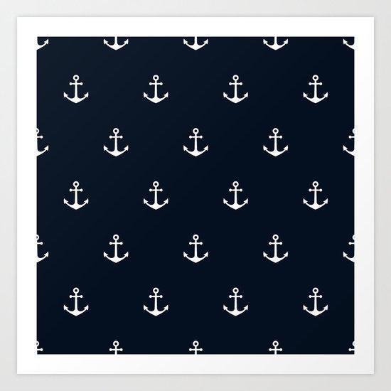Dark Blue Anchor Pattern Art Print