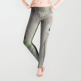 White Peacock Bird and Feathers Art Print Leggings