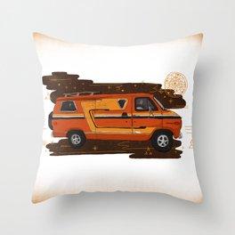 Badass Vintage Van Throw Pillow