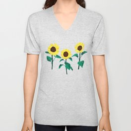 Sunny Sunflowers - White Unisex V-Neck