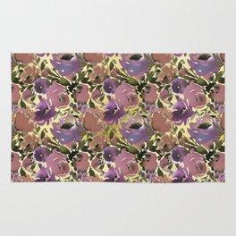 Botanical lavender purple ivory brown floral Rug