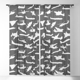 Aircraft Silhouettes, Black White Pattern Sheer Curtain