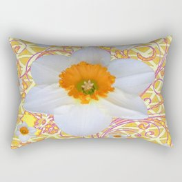 WHITE DAFFODILS DELICATE VIOLET SCROLLS ART  PATTERN Rectangular Pillow