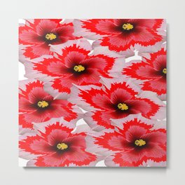A Garden of Blossoms in Red Metal Print