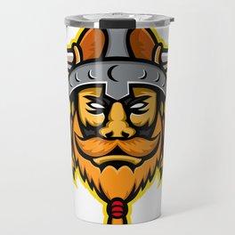 Viking Warrior or Norse Raider Head Mascot Travel Mug