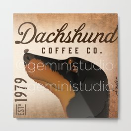 Dachshund Coffee company dog artwork by Stephen Fowler Metal Print