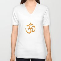hindu V-neck T-shirts featuring Hindu om by gbcimages