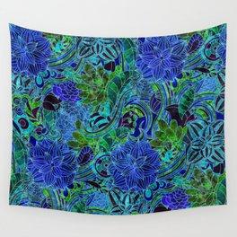 Blue Green Flower Pattern Wall Tapestry