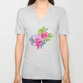 Dual Bouquets - a watercolor floral Unisex V-Neck