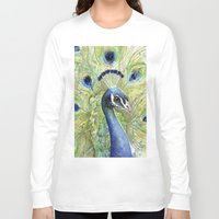 peacock Long Sleeve T-shirts featuring Peacock by Olechka