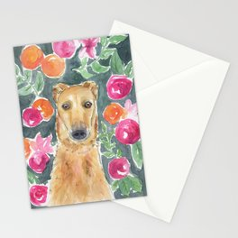 Whippet in the flowers Stationery Cards