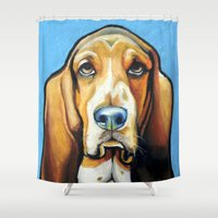 the hound Shower Curtains featuring Hound Dog by Animal Art By Sarah