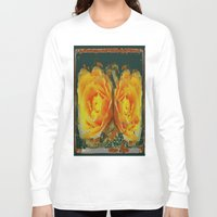 shabby chic Long Sleeve T-shirts featuring Antique Style Shabby Chic Yellow Roses Green Art by SharlesArt