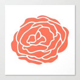 Rose Deep Coral on White Canvas Print