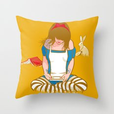 Alice in Mario Land Throw Pillow
