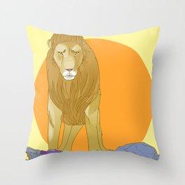 A Lion Untamed Throw Pillow