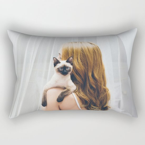 Woman and kitty Rectangular Pillow