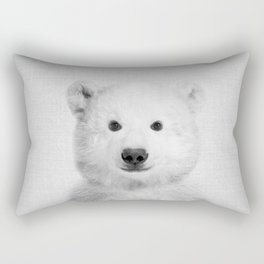 Polar Bear - Black & White Rectangular Pillow