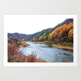 Scenic Fall Nature Lanscape with Stream and Hills Art Print