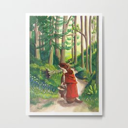 Little Red Riding Stoat by Mary Bottom Metal Print