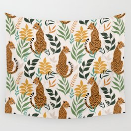 Spring Cheetah Pattern I - Green and Yellow Wall Tapestry
