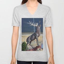 Bird Flying From Stag Deer Statue Unisex V-Neck