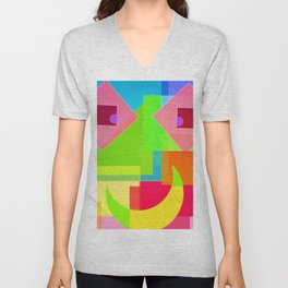 Abstract Geometry Face Unisex V-Neck