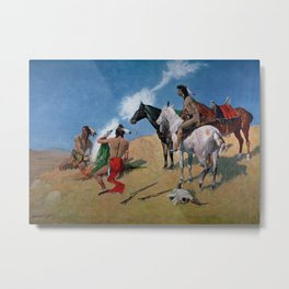 "Frederic Remington Western Art ""Smoke Signals"" Metal Print"