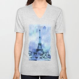 Blue Eifel Tower Paris France abstract painting Unisex V-Neck