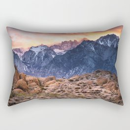 Mount Whitney and Alabama Hills Sunset Rectangular Pillow