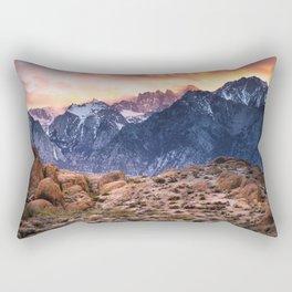 Mount Whitney and Alabama Hills Sunset Rectangular Pillow